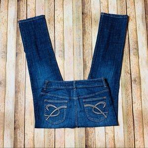 CHICOS Platinum Slim Leg Blue Jeans Sz 0.5 Short